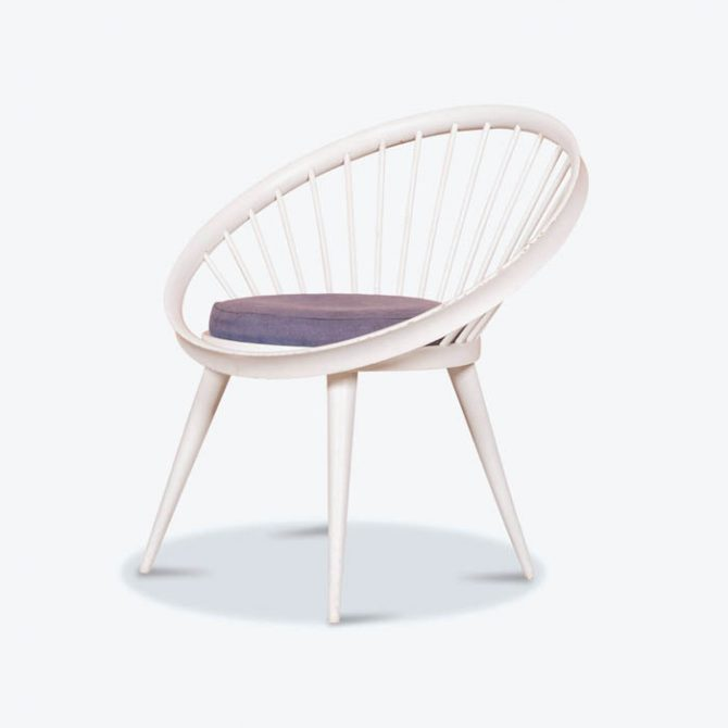 Circle Chair in Purple Wool by Yngve Eckstrom for Swedese, 1950s, Sweden