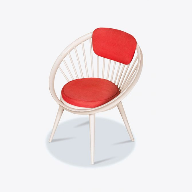 Circle Chair in Red Wool by Yngve Eckstrom produced for Swedese, 1950s, Sweden