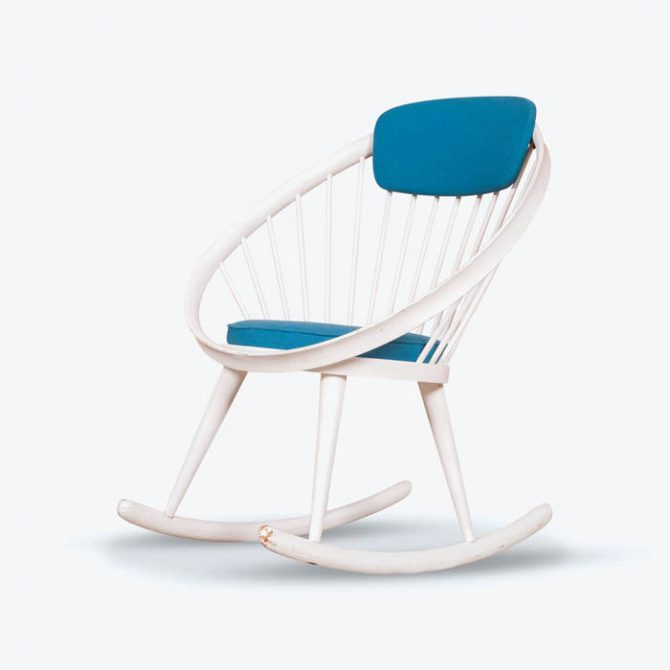 Circle Rocker Chair in Blue Wool by Yngve Eckstrom for Swedese, 1950s, Sweden
