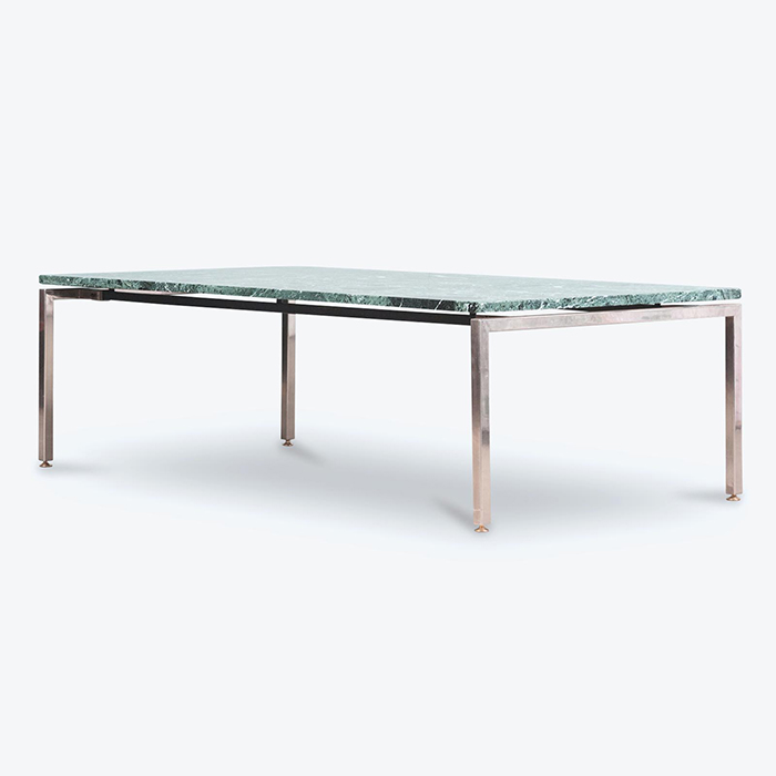 Coffee Table in Green Marble with Chrome Legs, 1960s, Netherlands