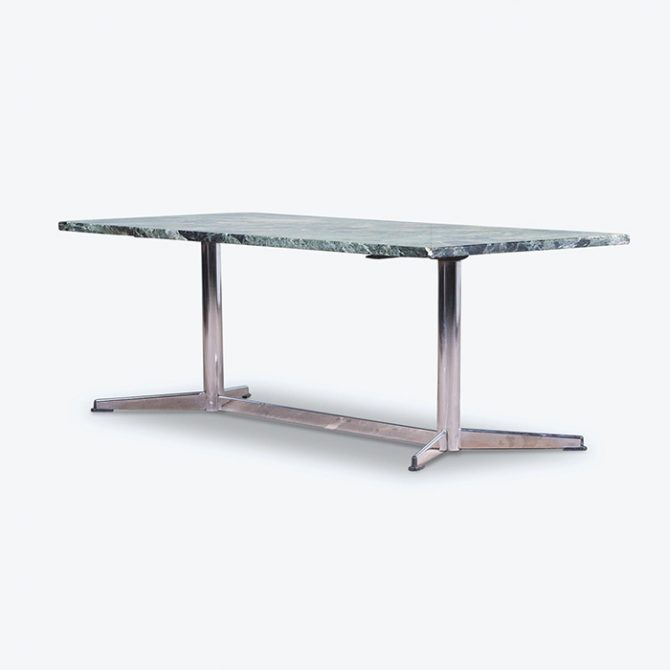 Coffee Table in Green Marble with Industrial Base, 1960s, Netherlands