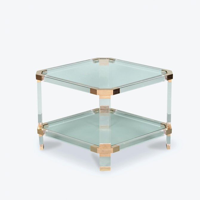 Coffee Table in Lucite and Brass, 1970s, France