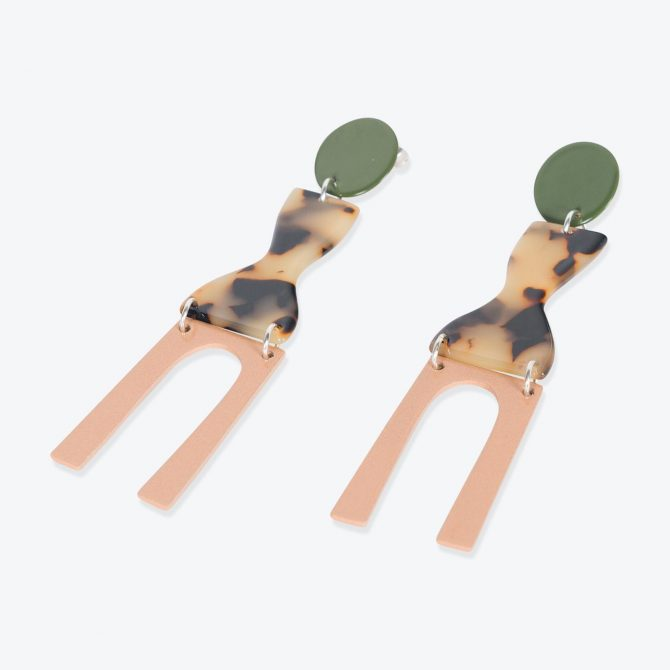 Faro Earrings in Army Resin by Bianca Mavrick