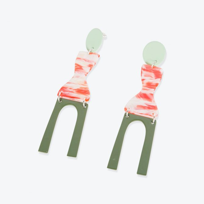 Faro Earrings in Mint Resin by Bianca Mavrick