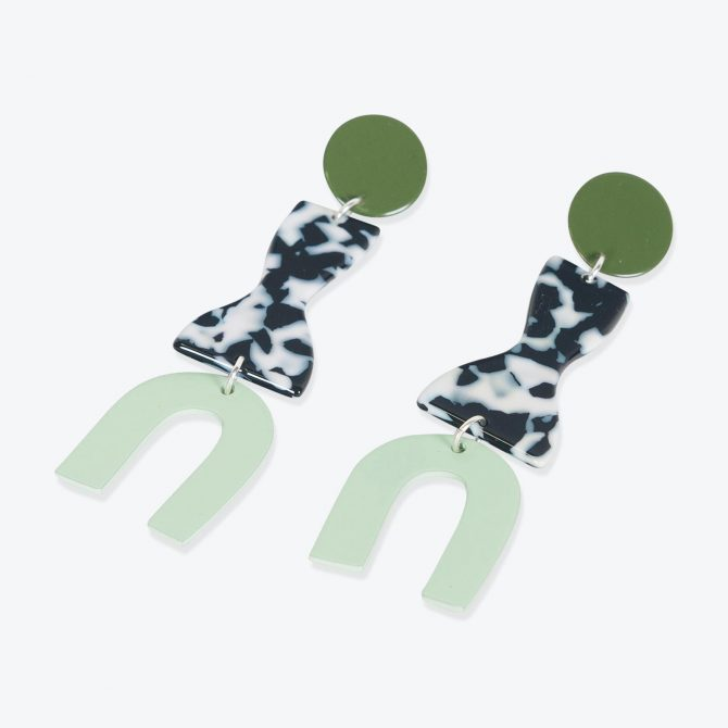 Roy Earrings in Army Resin by Bianca Mavrick