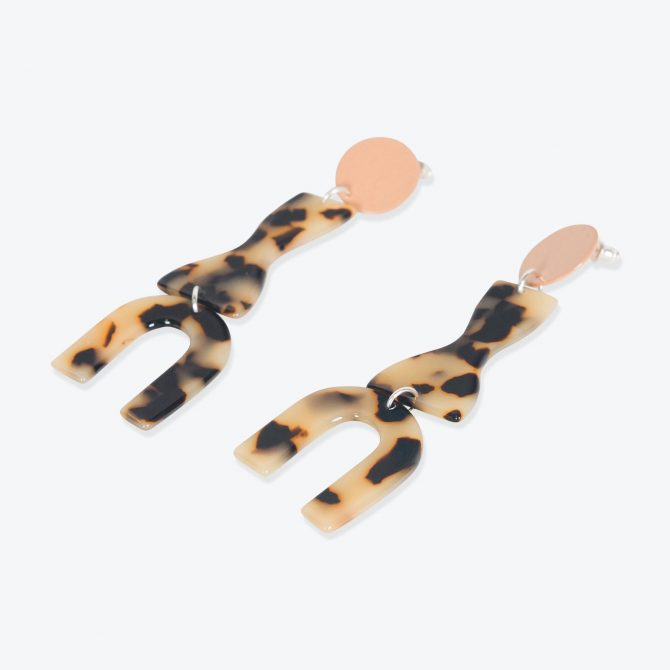 Roy Earrings in Peach Resin by Bianca Mavrick