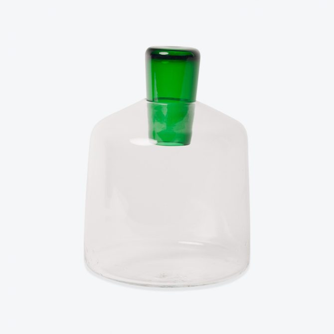 Square Penetrate Decanter, in Clear and Green Glass by Katie-Ann Houghton