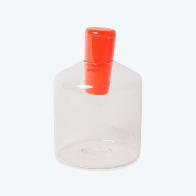 Wide Cylinder Penetrate Decanter, in Clear and Orange Glass by Katie-Ann Houghton